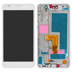 LCD compatible with Huawei Honor 6 H60-L02, (white, with touchscreen, with front panel, Original (PRC))