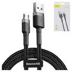 USB дата-кабель Baseus, USB тип-A, micro-USB тип-B, 100 см, в нейлоновому обплетенні, 2,4 А, чорний, #CAMKLF-BG1